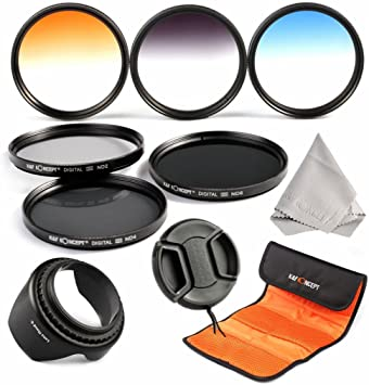 ND2 ND4 ND8 Premium Microfiber Cleaning Cloth for DSLR Cameras 62MM Neutral Density Professional Photography Filter Set