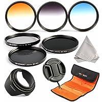 K&F Concept® Objektiv Filterset 58mm ND Filter Set 58mm ND2 ND4 ND8 Filter 58mm Verlaufsfilter Set Grau Orange Blau mit Gegenlichtblende 58mm Objektivdeckel Reinigungstuch und Filtertasche für Canon und Nikon DSLR Kamera
