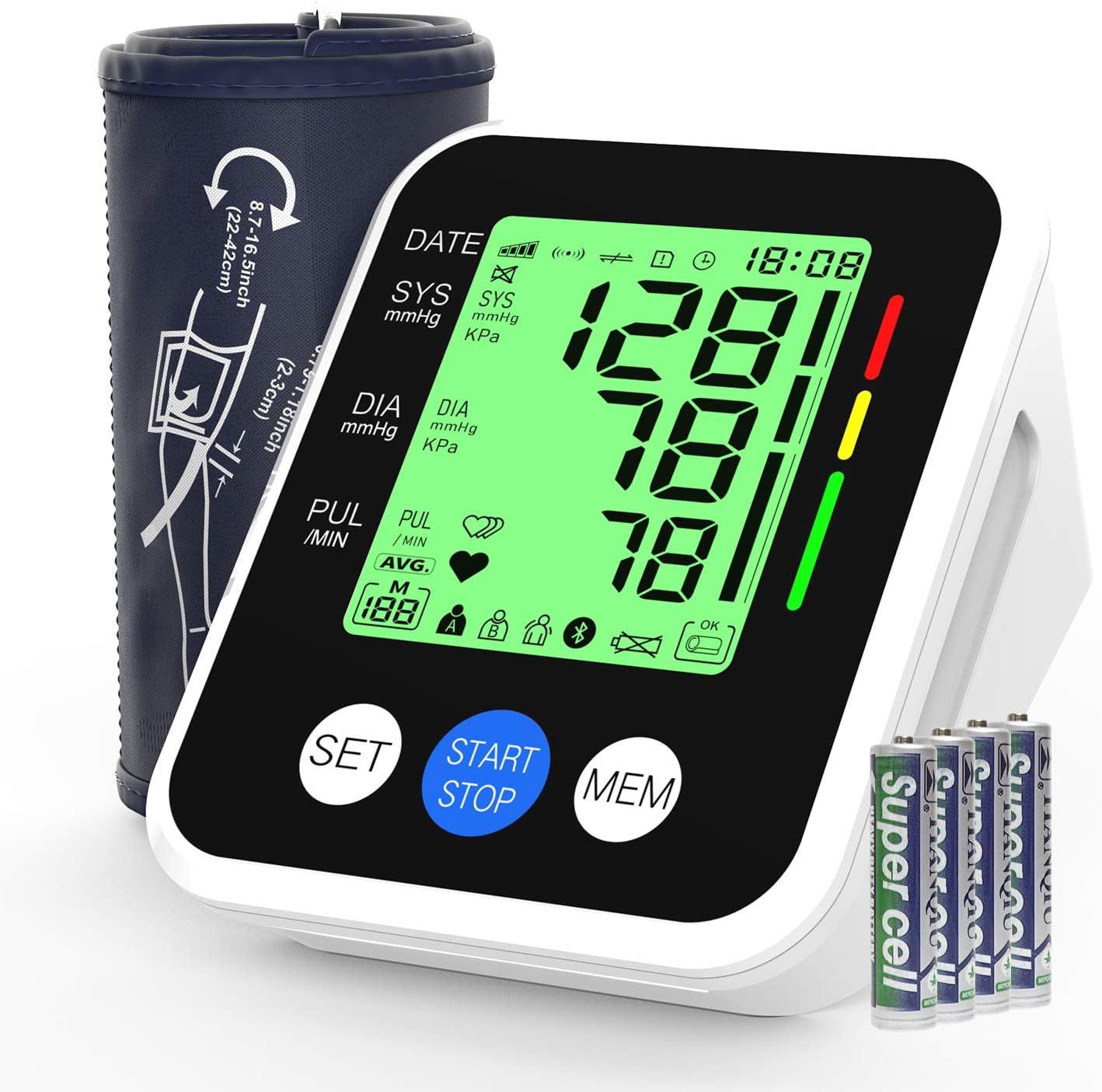 Tensiómetro de Brazo, AUCEE Tensiómetro de Brazo Digital con Detección de Arrítmia y Pantalla 3.5'' Gran pantalla LED retroiluminada, 2 Memorias de Usuario(2 * 99)