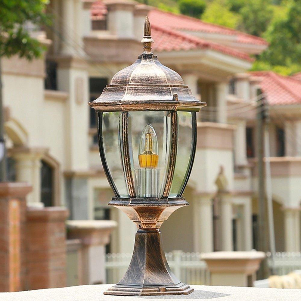 Hines Outdoor Column Headlights Balcony Waterproof Pillar Post Lights European Series Glass Lantern Table Lamp Aluminum E27 Decoration Lighting Fixture