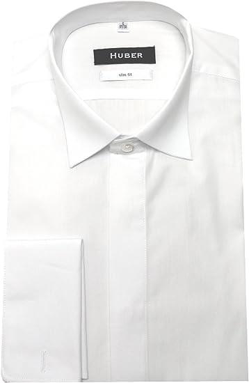 Huber de Fumar Camisa Blanco sobre PUÑOS Plegables Cuello fácil Planchado 0351 Ajustado S A XXL - Blanco, XL / 43/44: Amazon.es: Ropa y accesorios
