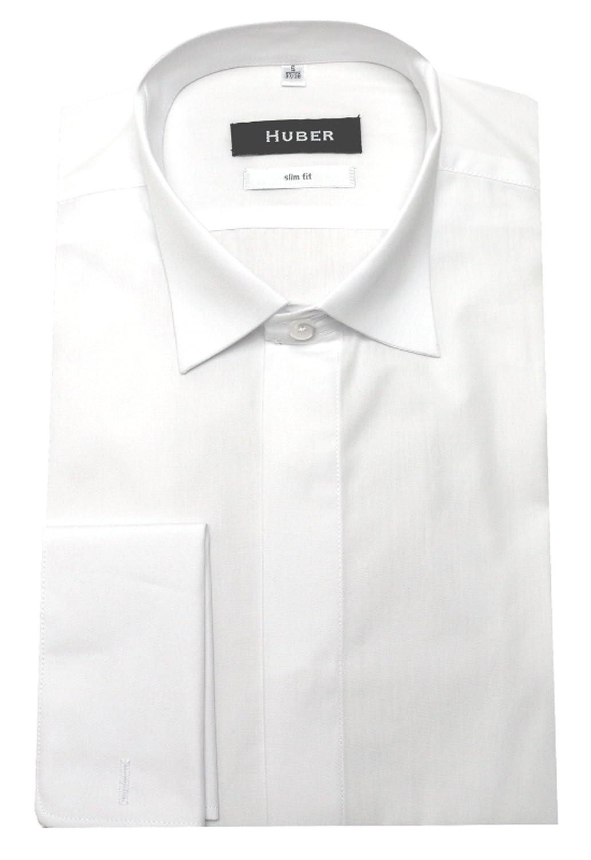 Huber Smoking Camicia Bianco Risvolto Manicotti Risvolti Colletto Stiro-Facile 0351 vestibilità Slim/Arredata S Fino a XXL - Bianco, L / 41/42