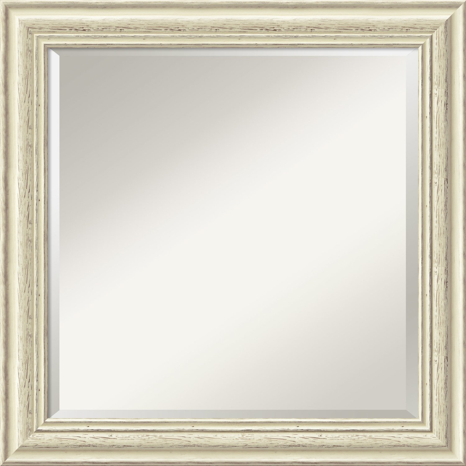 Country White Wash Glass Size  20 x 20 Wall Mirror Large, whiteo White Wood  Outer Size 32 x 26