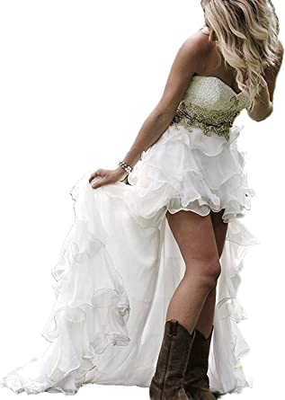 Modeldress High Low Country Western Wedding Dress for Bride Off Shoulder  Bridal Gown