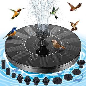 EKACO Solar Fountain - 2021 1.4W Upgraded Solar Fountain Water Pump, solar bird bath fountains, 10 Nozzles4 Fixer, for Bird Bath for outdoors, Pool,Pond, Garden,Outdoor