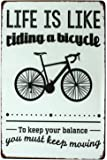 SUMIK Life is Like Riding A Bicycle You Much Keep Moving, Metal Tin Sign, Vintage Art Poster Plaque Garage Home Wall…
