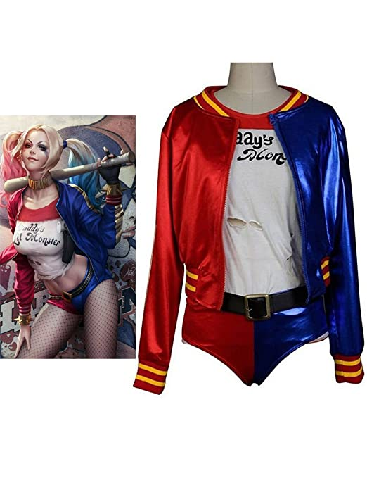 CosDaddy Suicidio Squad Traje de Cosplay Disfraz de Disfraz de Harley Quinn: Amazon.es: Ropa y accesorios