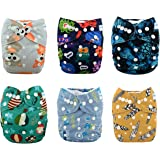 Babygoal Baby Reusable Washable Pocket Cloth Diaper, Baby Boy Clothes, 6pcs diapers+ 6pcs Microfiber Inserts+One Wet Bag 6fb11