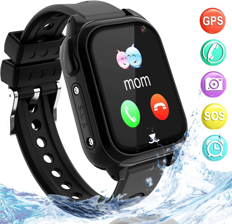 Impermeable GPS Smartwatch para Niños, IP67 Impermeable Reloj inteligente Phone con GPS LBS Tracker SOS Chat de voz Cámara Podómetro Juego Watch Niño niña Compatible con iOS Android(SS8-Black)
