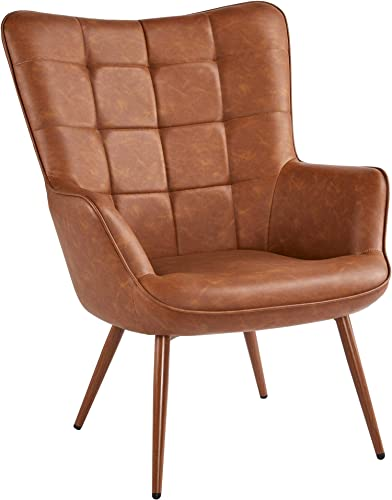 Yaheetech Faux Leather Leisure Chair Accent Chair Armchair Upholstered Biscuit Tufted Wingback Chair