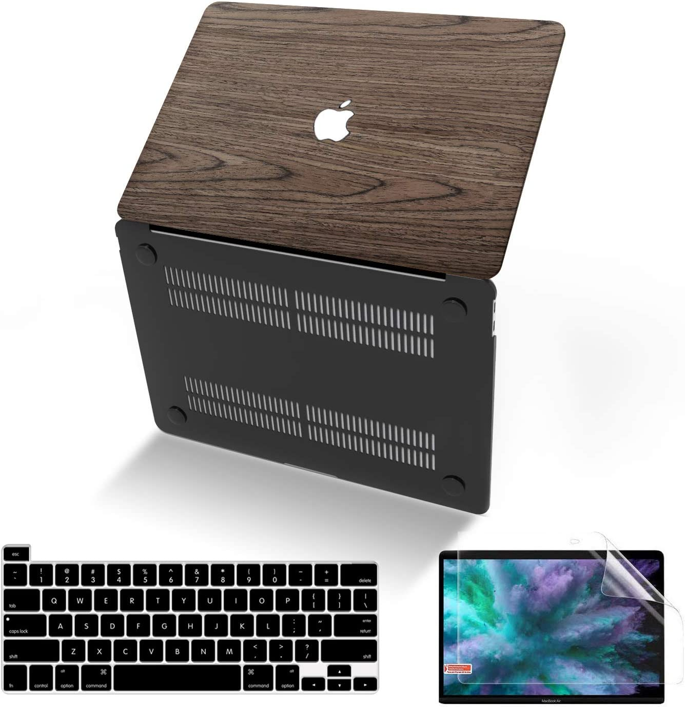 MacBook Pro 13 Inch Case 2020 Release A2289 A2251, Anban Ultra-Slim Wooden Hard Corner Protective Shell Cover with Keyboard & Screen Protector for Apple Mac Pro 13 with Touch Bar, Touch ID & Retina