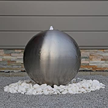 Charming 48cm Großer Edelstahl Kugel Springbrunnen ESB5 Gebürstet Kugelbrunnen Mit  LED Beleuchtung