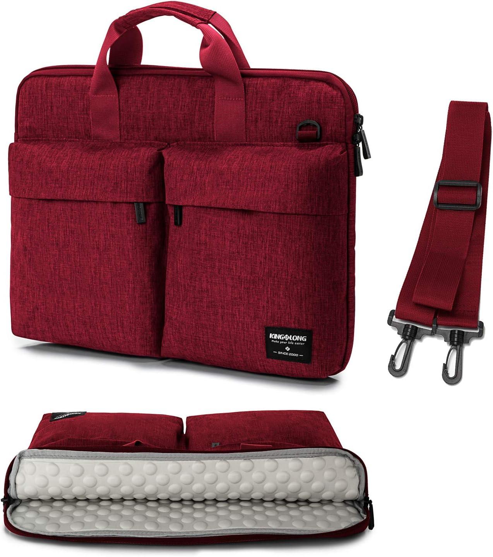 KINGSLONG 15.6 Inch Laptop Bag for Men Women Messenger Bag Laptop Sleeve Case Computer Bags with Shoulder Strap Handbag PC Briefcase Crossbody Bags, Red