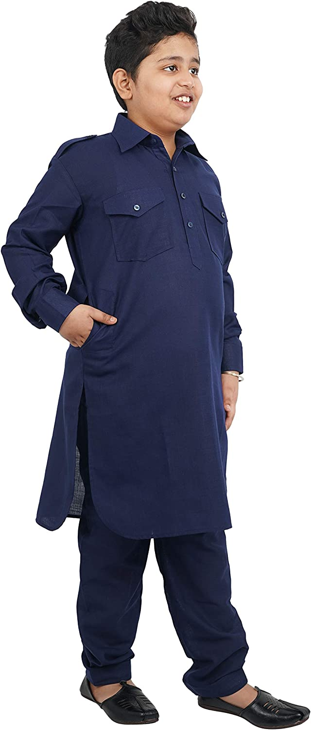 Crocon Cotton Blend Pathani Kurta with Salwar for Boys Indian Wear Bollywood Style Kurta Pyjama