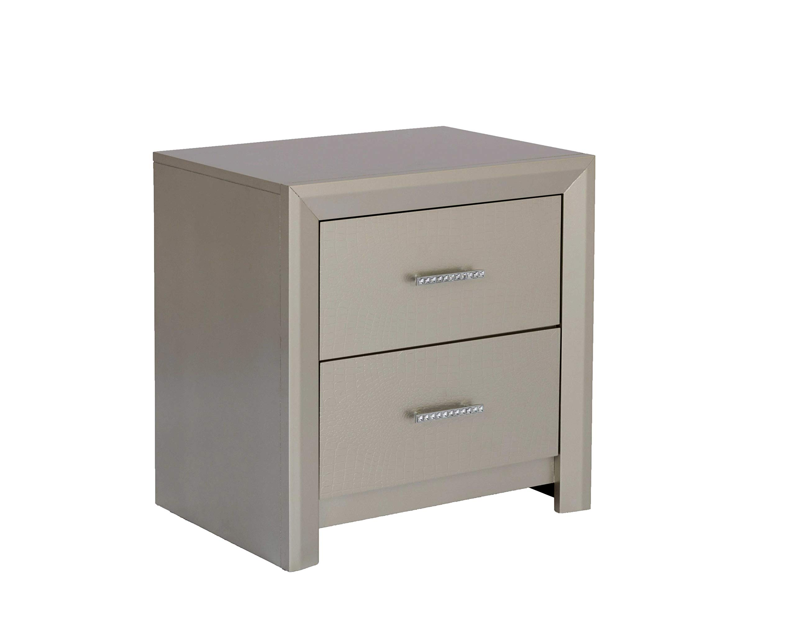 Best Quality Furniture Nightstand Only, Champagne Metallic by Best Quality