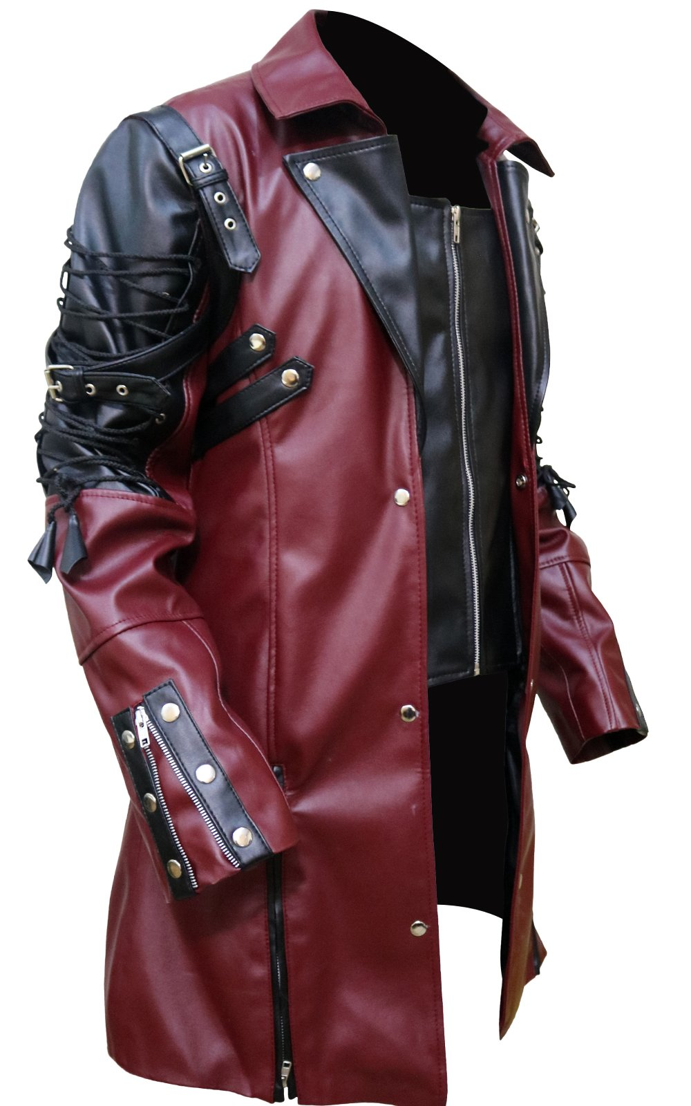 FaddyRox Steampunk Gothic Men Faux Leather Maroon & Black Coat Jacket, XXS - 3XL 5