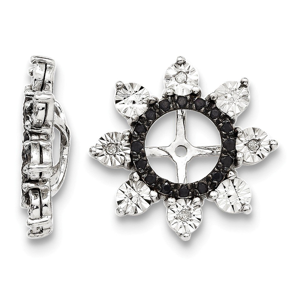 Sterling Silver Rhodium Diamond & Black Sapphire Earring Jacket