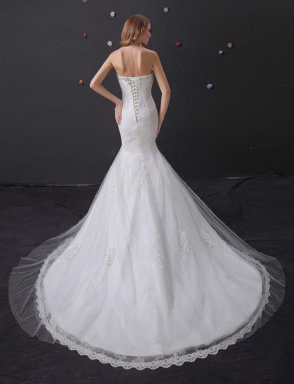 Adasbridal-Impresionante Vestido de novia de tul con escote corazon de la sirena con apliques de encaje: Amazon.es: Ropa y accesorios