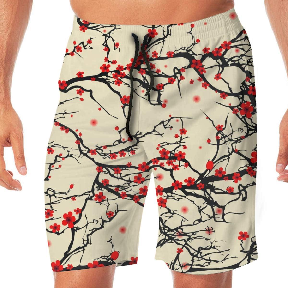 Japanese Cherry Blossom Summer Mens Quick-Drying Swim Trunks Beach Shorts