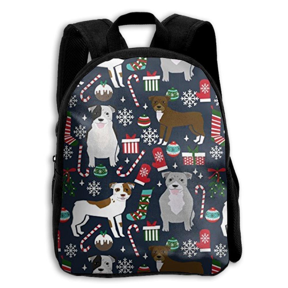sdeyr79スタイリッシュな子ピットブルXmas犬学校バックパックBookbags Middle Bags Daypack For Boys Girls   B07FZTRYW8