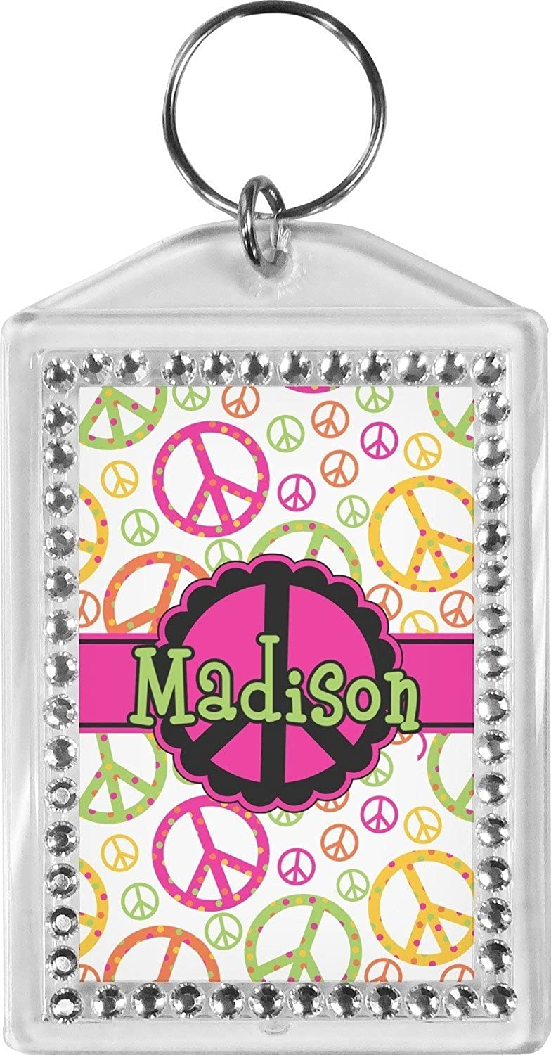 Peace Sign Bling Keychain (Personalized)