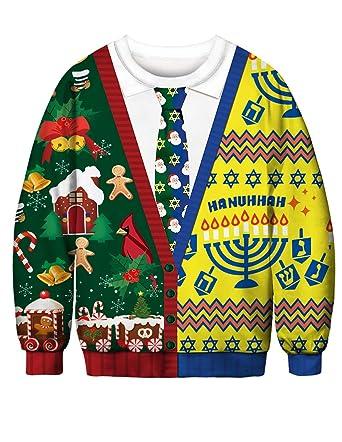 c650e0e936e Siennaa Pull Noël Homme Moche Imprimé Imitation Drôle Unisexe Femme Garçons  Sweat-Shirt Col Rond