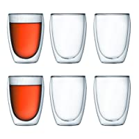 Bodum PAVINA Double Walled Thermo Glasses, 0.35 L, 12 oz, Set of 6 - Transparent