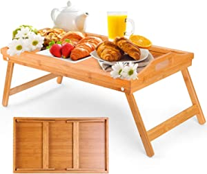 Moclever Breakfast Tray Table with Folding legs - Serving tray bamboo - dinner trays, tea tray, bar tray, bed trays for eating or any food tray - good for parties, Reading, Laptop, Working or bed tray