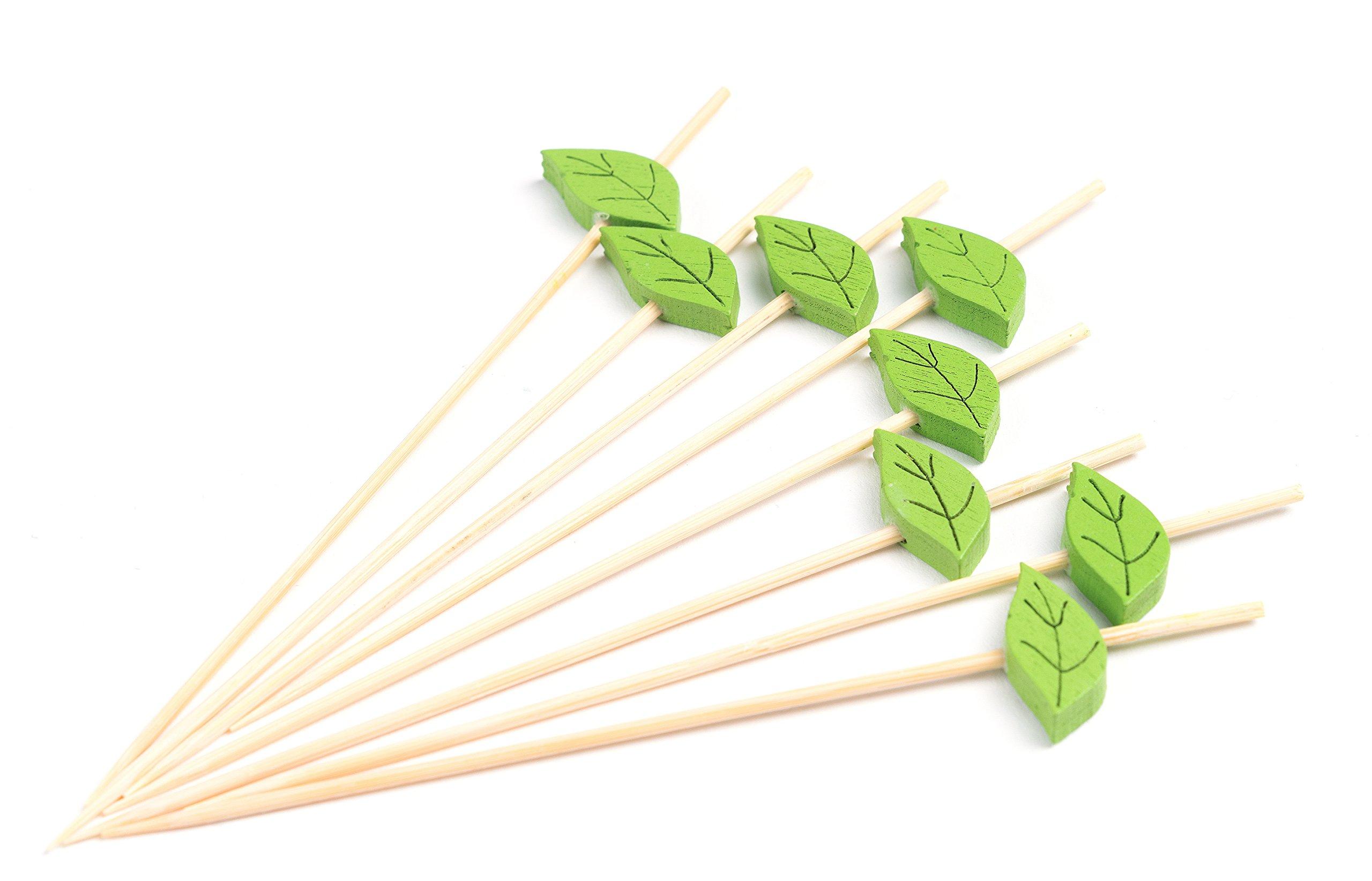 "PuTwo Cocktail Picks Handmade Bamboo Toothpicks 100ct 4.7"" Green Leaves"