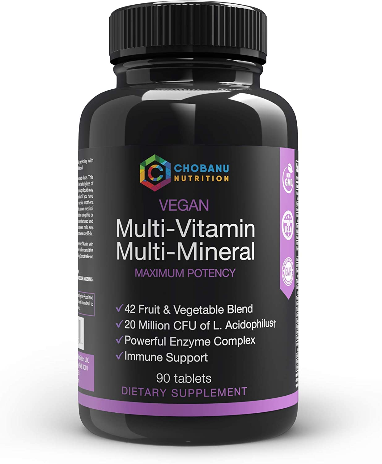 Whole Food Mega Multivitamin & Mineral Complex with 42 Fruit & Veggies Blend, Probiotic, Enzymes, Greens & Herb Blend, Packed with Vitamins A B C D E, Zinc, Antioxidants for Digestive Support - 90 Tab