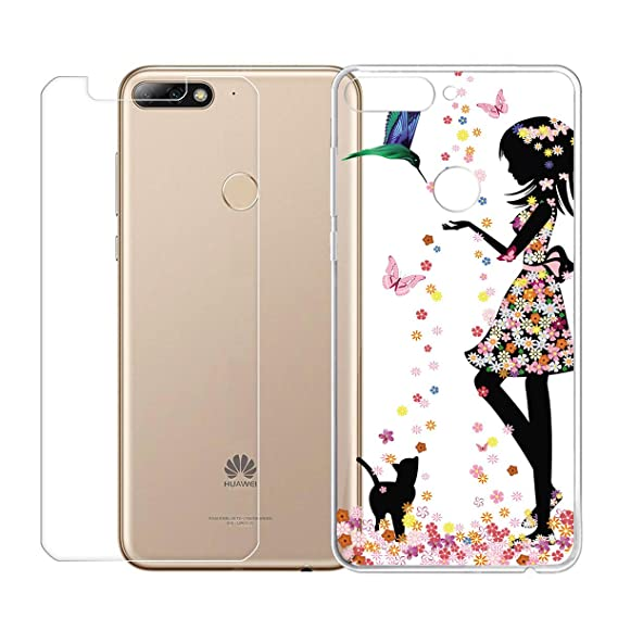 Amazon.com: HYMY Case Huawei Y6 Prime 2018 Tempered Glass ...