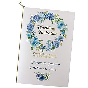 いっぽ ウェディング 名入れ 結婚式 招待状 手作りキット フレッシュブルーリース 10枚 セット (返信はがき:アレルギー表記あり)