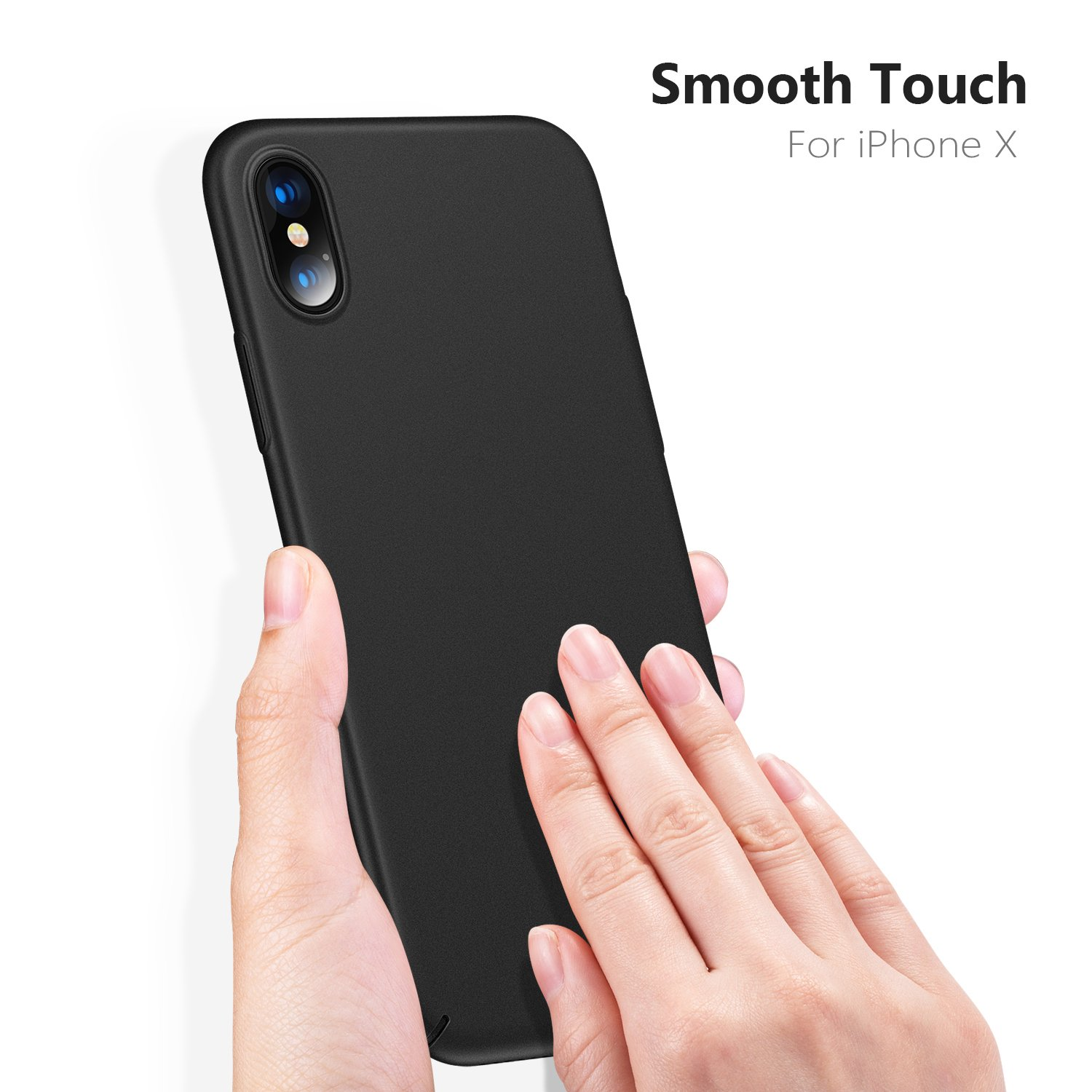 TORRAS Slim Fit iPhone Xs Case/iPhone X Case, Hard Plastic PC Ultra Thin Mobile Phone Cover Case with Matte Finish Coating Grip Compatible with iPhone X/iPhone Xs 5.8 inch, Space Black by TORRAS (Image #5)
