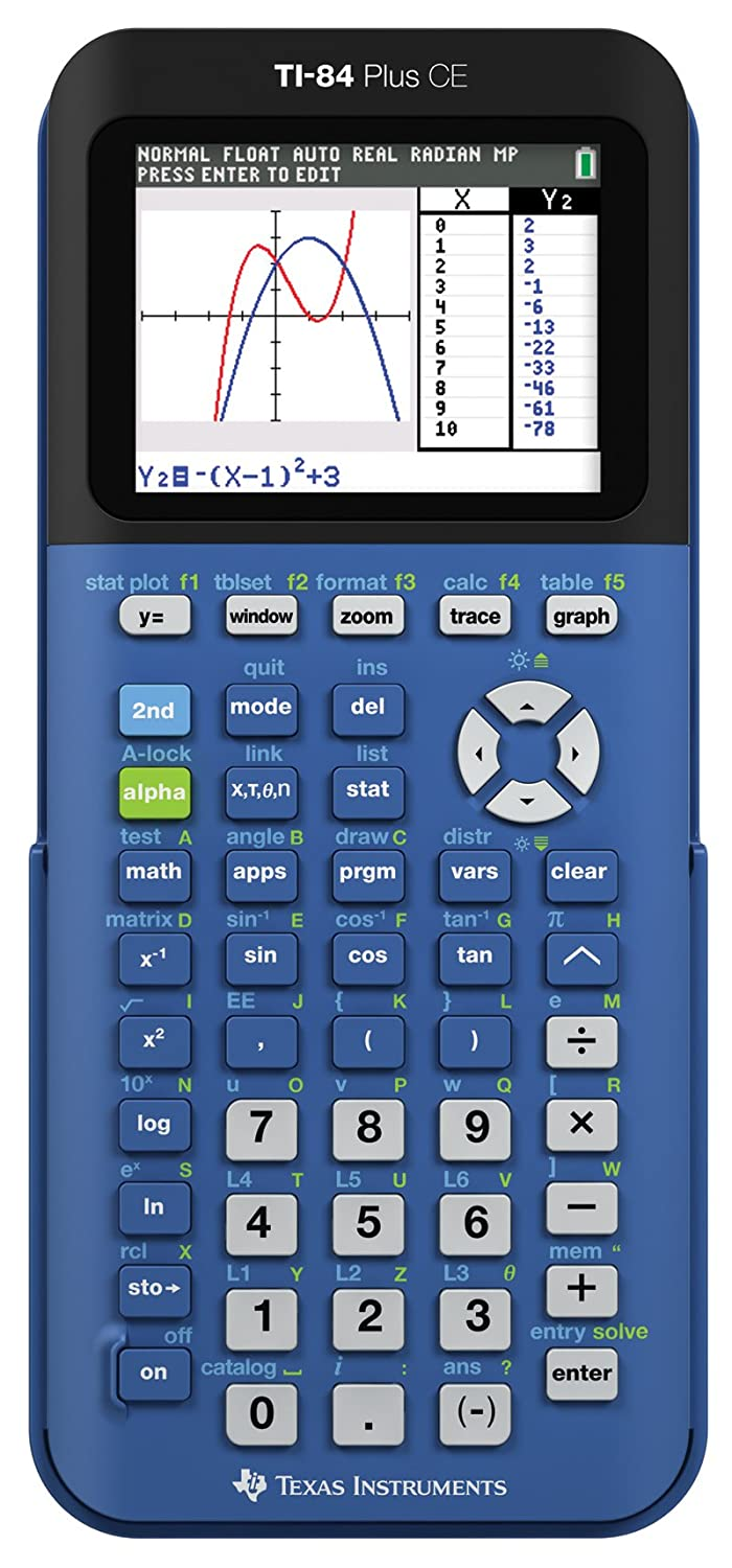 Amazon.com : Texas Instruments TI-84 Plus CE Blueberry Graphing ...