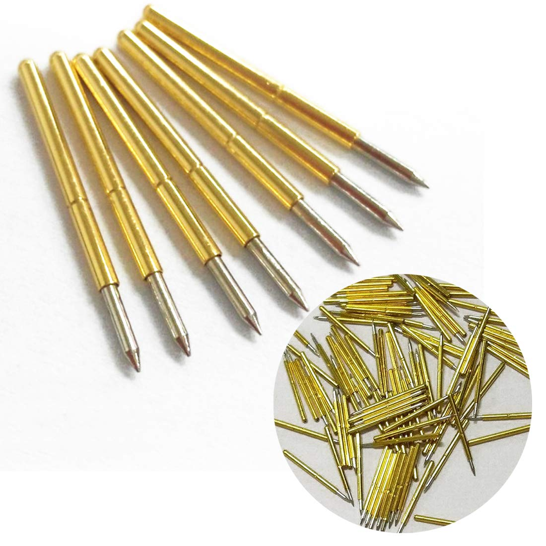 joyliveCY Golden and Silver Spring Straight Spherical Tip 100pcs P75-B1 Spring Test Probes Pogo Pins