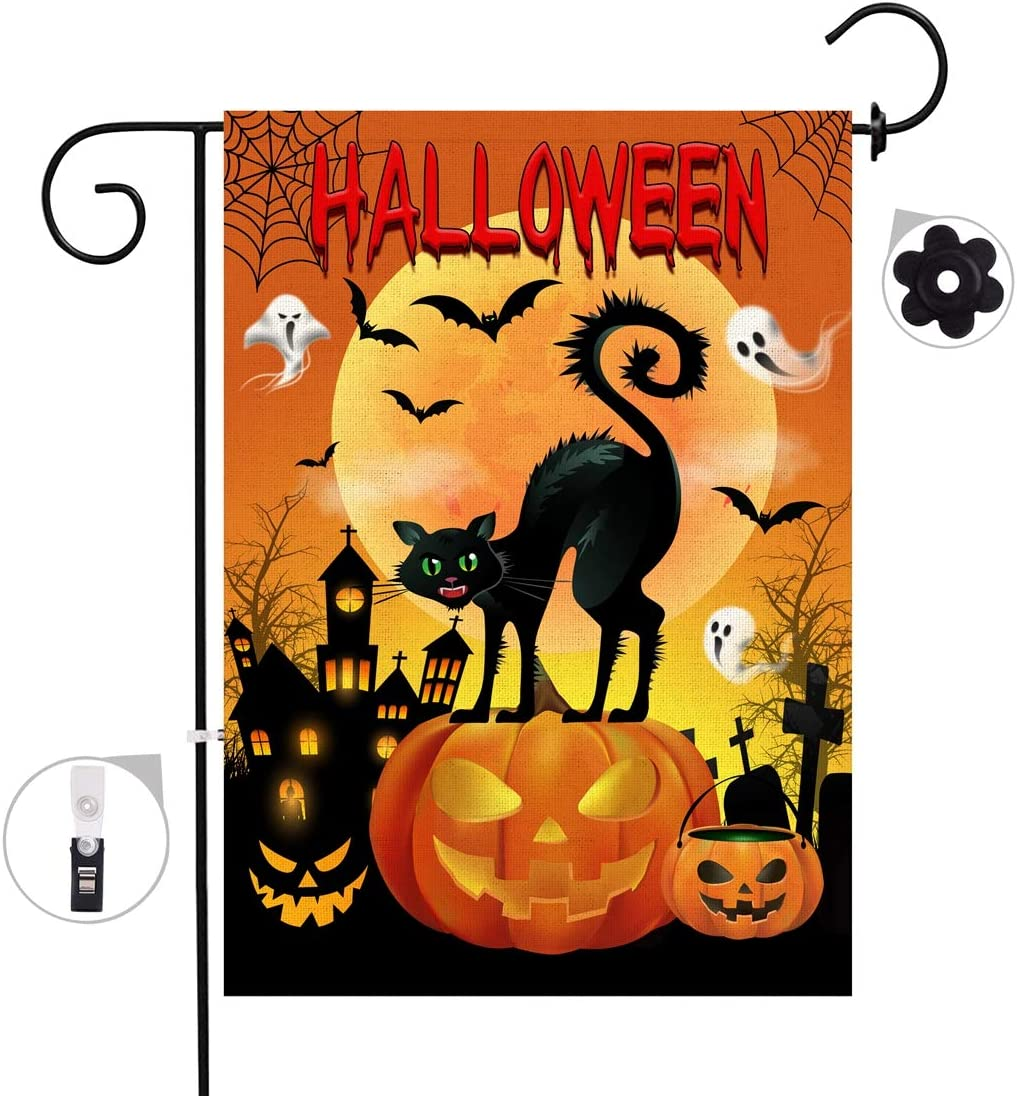 """Bonsai Tree Halloween Decorative Garden Flag Sets, Double Sided Jack O Lantern Pumpkins Yard Flags, Spooky Black Cat Ghosts Banners with a Rubber Stopper Stop and a Anti-Wind Clip,12""""x18"""""""