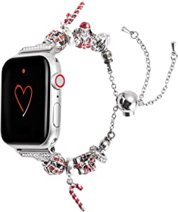 Wearlizer Christmas Band Compatible with Apple Watch Series 6 5 4 40mm Series 3 2 1 38mm for iWatch SE Womens Unique Metal Chain Handmade Strap, New-Year- Santa Claus Crutch-Box Gifts Bracelet
