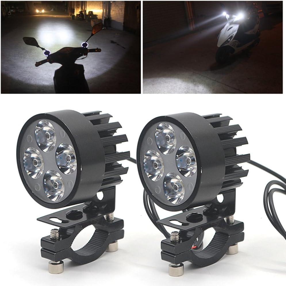 Ebuybox 2x Universal Motorrad Scheinwerfer Flutlicht Nebel Licht 4 Led Lampe Lichter 12v 85v Amazon De Auto