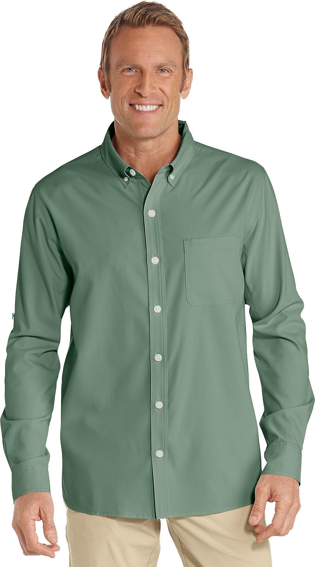 Coolibar UPF 50+ Men's Sun Shirt (X-Large- Olive)