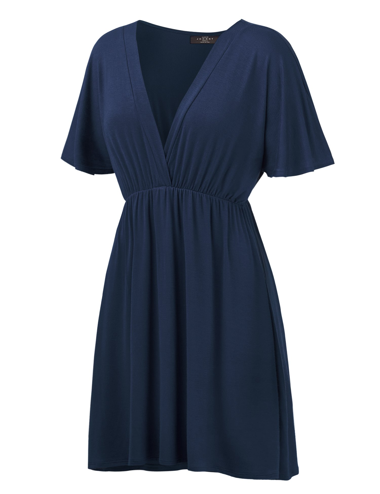 WDR1338 Womens Short Sleeve Kimono Style Dress Top M NAVY