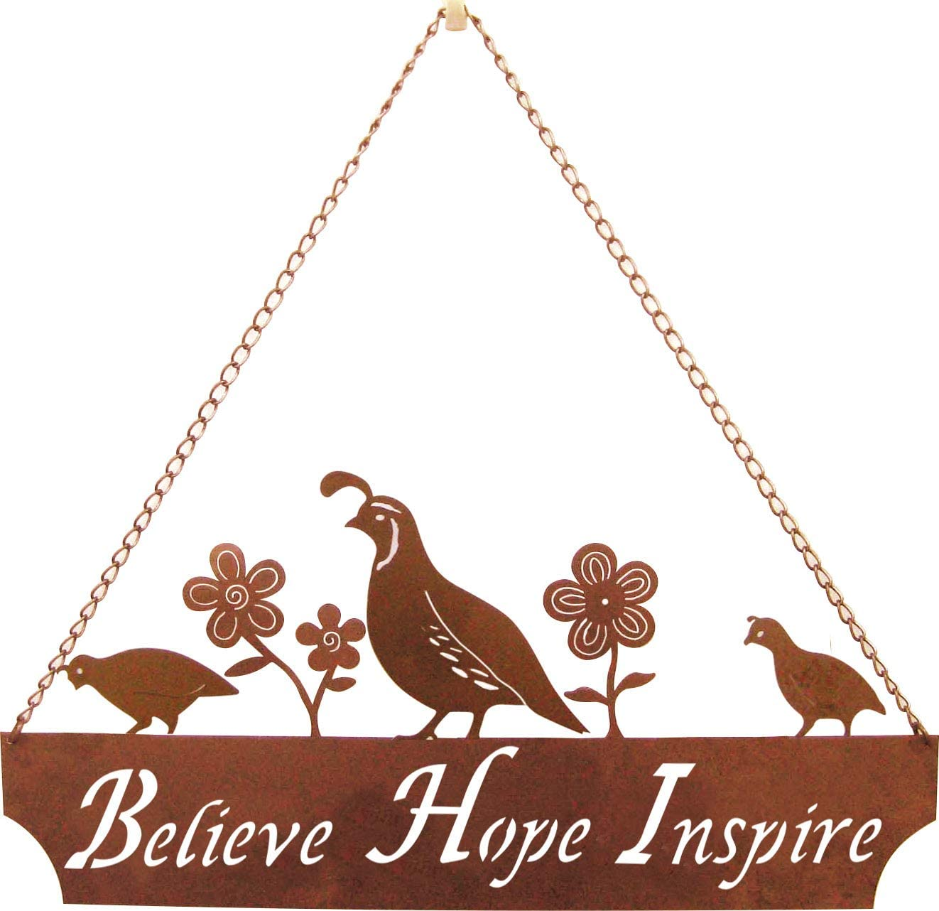 California Home and Garden CH303 Hanging Metal Quail Family Believe-Hope-Inspire Sign with Flowers, Rustic Look Artwork, 20 Inch Wide, Brownish Red