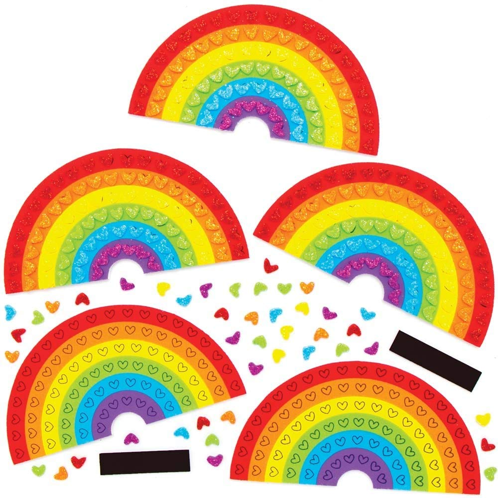 Mosaics Craft Kits Great for Arts and Crafts Activities or Party Crafting Baker Ross AX813 Heart Fridge Magnets Pack of 5