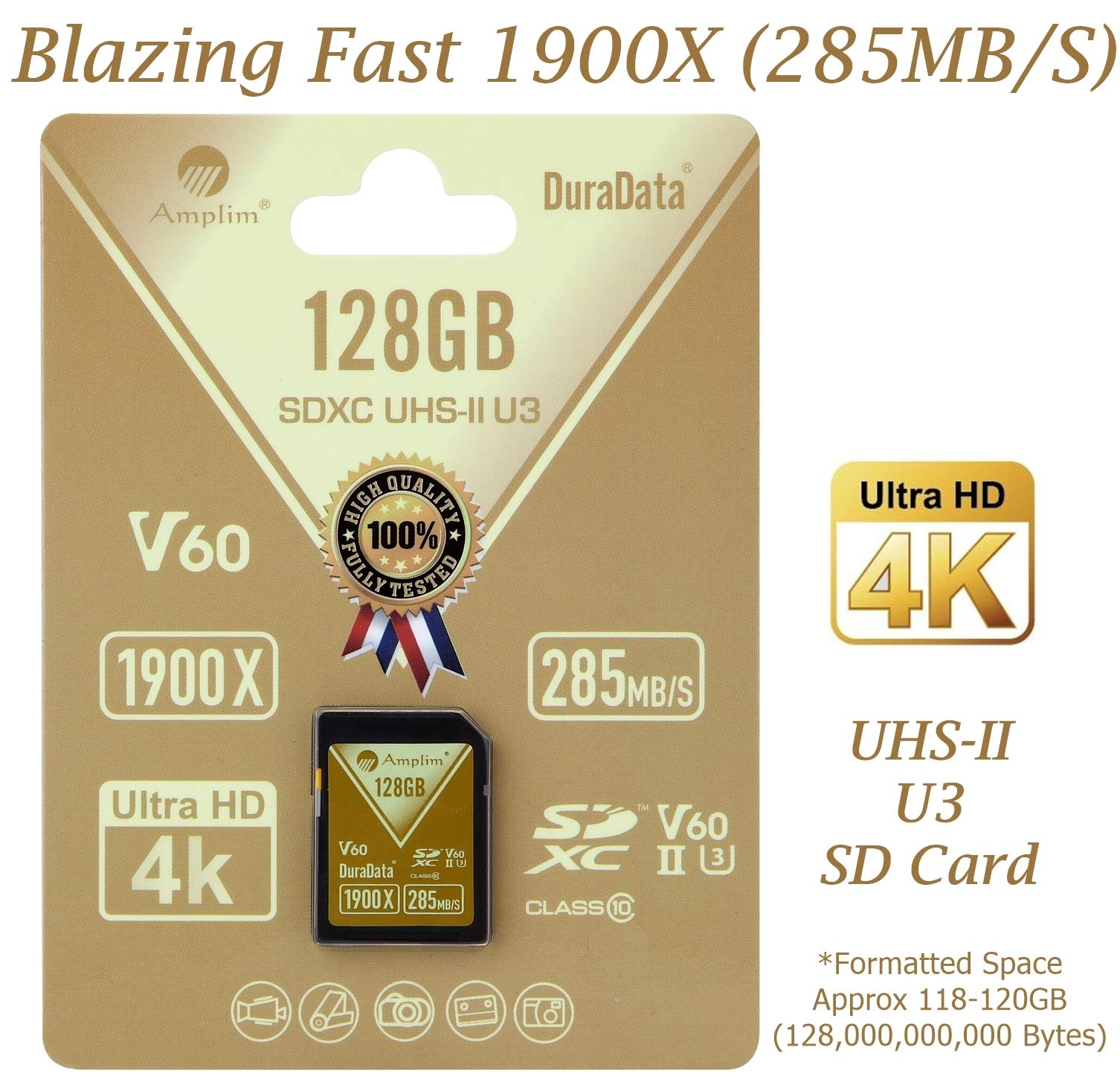 Amplim extreme high speed 32gb uhs-ii v90 sdxc sd card for 4k 8k uhd video camera camcorder 1 ultra high performance sd card: blazing speed 1900x (285mb/s) transfer rate. Twice the read speed of 1000x card. Newest sd association sd 5. 0 specs v60+ video rating provides 4k continuing shooting (other uhs-ii cards without v ratings are last generation sd 4. 0 cards). Top rated uhs-ii u3 class10 pro extreme turbo fast high capacity sd card for latest uhs-ii sdxc (sd xc) compatible cameras, accessories, usb-c sd card reader, microsoft surface book 2 and super fast 3d hdr 360 4k dslr and 3d professional photographer memory card: 32, 64 128 and 256 gig uhs-ii high capacity cards for dslr and mirrorless uhs-ii video cameras (sony, fuji, leica, nikon, olympus, panasonic, samsung). Sony alpha a9 a7 a7r mark iii sf card cyber-shot rx1r ii; fujifilm fuji x-t1 x-pro2 x-t2 gfx 50s x-h1 x-e3; leica sl type 601 m10; nikon d850 d500 fx; olympus om-d e-m5 ii om-d e-m10 ii iii pen-f om-d e-m1 mark ii; panasonic lumix dc-g9 gh5s gh5 gh4; samsung nx1; black magic ursa; support all uhs-ii devices backward compatible with uhs-i cameras (note: speed of uhs-ii card will be limited by the uhs-i sd slot): sony cyber-shot dsc w800 w830 dsch300 alpha a7r ii dsc-rx10 iv a6500 a9 a6300 a99 ii; canon powershot sx720 sx730 sx530 hs elph 180 190 is g7 x 5d mark iv iii ii eos 80d 5ds r rebel t7i t6 t5 kiss x70 x9 x9i 1300d 1200d m100 sl2 200d m56d m10 m677d 9000d 800d; nikon coolpix l32 l340 b500 d3400 d5300 d3300 d750 d7200 d7500 d5600