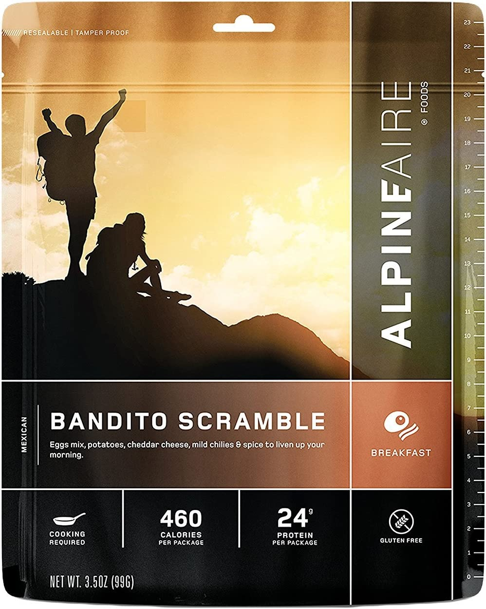 Alpine Bandito Egg Scramble Freeze Dried/Dehydrated Breakfast Meal Pouch, add Water and Cook in pan, 2-Servings per Pouch, 12g of Protein per Serving