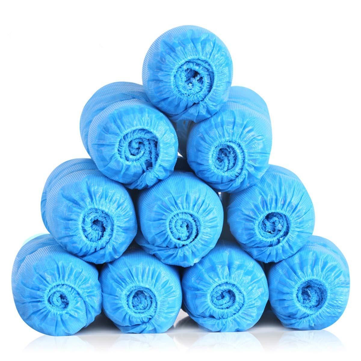 SGODDE 100 Piezas Cubrezapatos Desechables Impermeables, Cubrezapatos Desechables para Calzado de Interior/Exterior, Resistente al Agua, A Prueba de Barro, Reciclable (Talla 34-46, Azul)