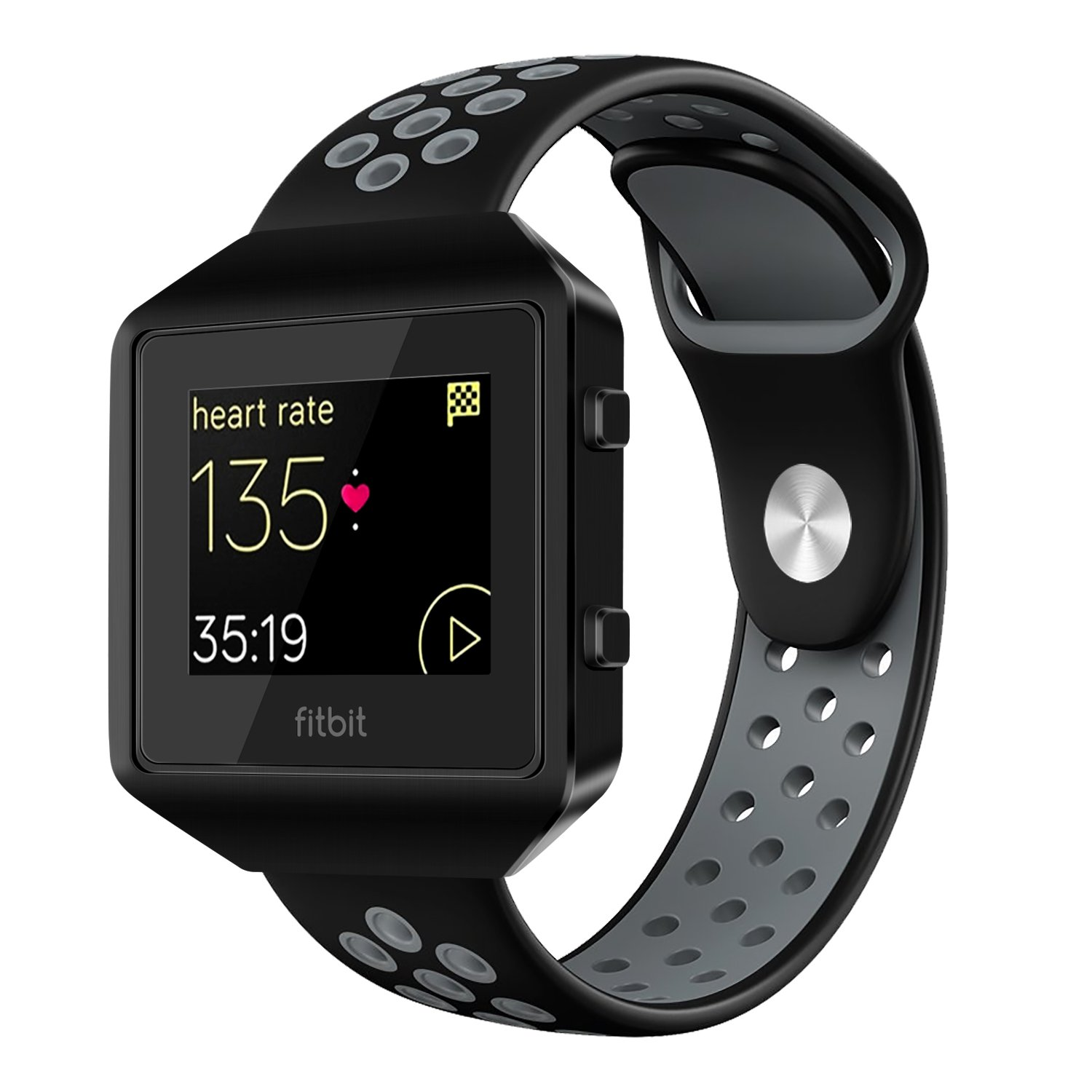For Fitbit Blaze Band Accessory, VODKE Silicone Breathable Replacement Band/Strap with New Frame for Fitbit Blaze Men Women Large(BLACK+GRAY+BLACK Frame)