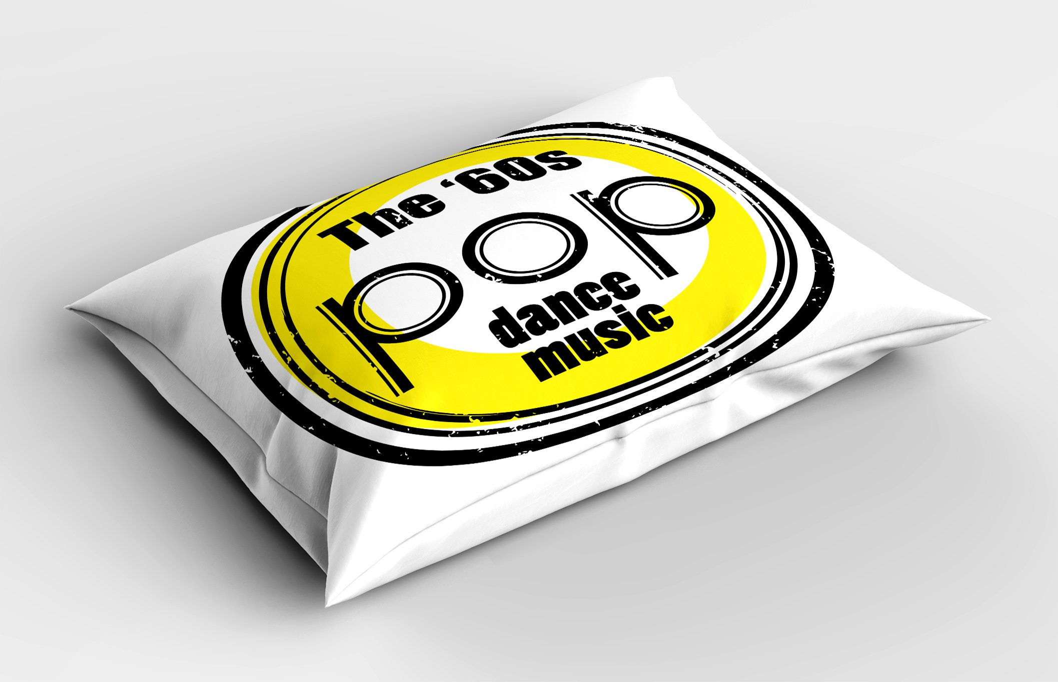 Ambesonne 1960s Pillow Sham, Party Music Night Club Bar Band Pop Dance Festival Classic Good Old Days Art, Decorative Standard Size Printed Pillowcase, 26 X 20 inches, Black White Yellow by Ambesonne (Image #2)