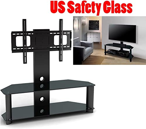 2xhome TV Stand Integrated TV Stand Shelf Modern Black Glass Wall Swivel Tier Shelves Base Slim Fit Furniture 30 – 60 TV 38 40 42 43 47 50 55 60 Inch Inches Game Video Audio System Mount Bracket