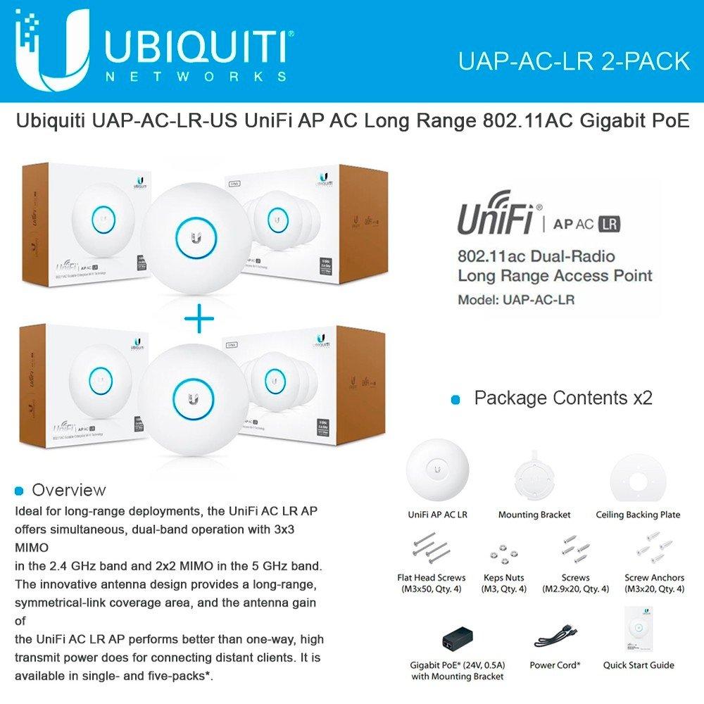 Ubiquiti Uap Ac Lr 2 Pack Unifi Ap Long Range 80211ac Gigabit Poe Computers Accessories
