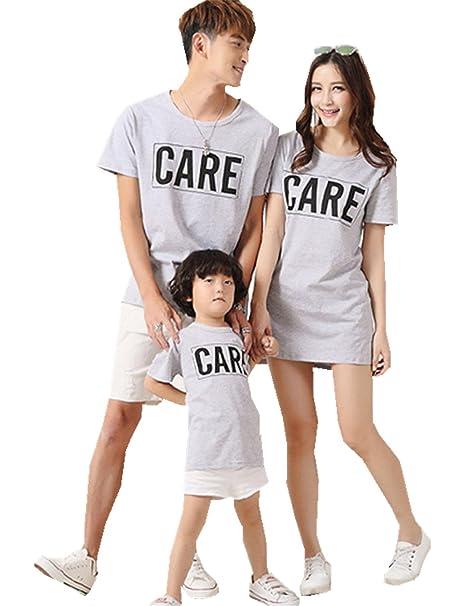 Afaly 親子お揃い服 半袖Tシャツ 字母 CARE ペアTシャツ風 夏 親子